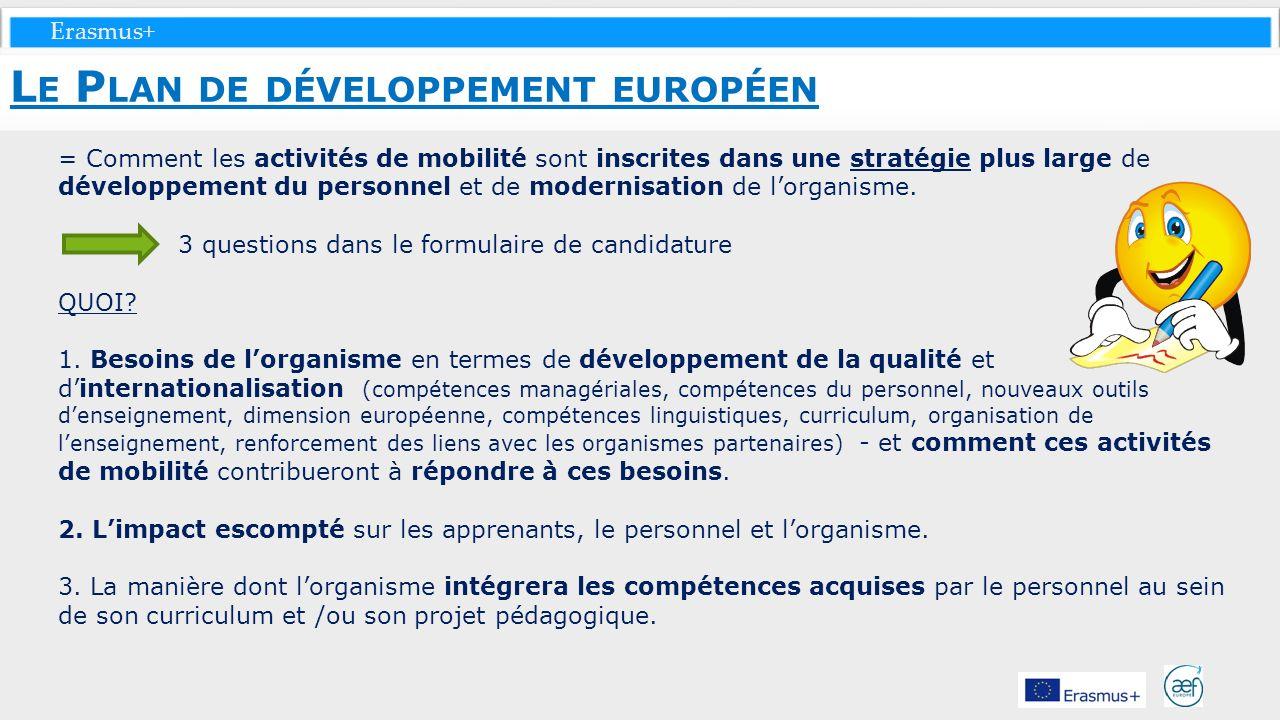 Erasmus+ = Comment les activités de mobilité sont inscrites dans une stratégie plus large de développement du personnel et de modernisation de lorgani