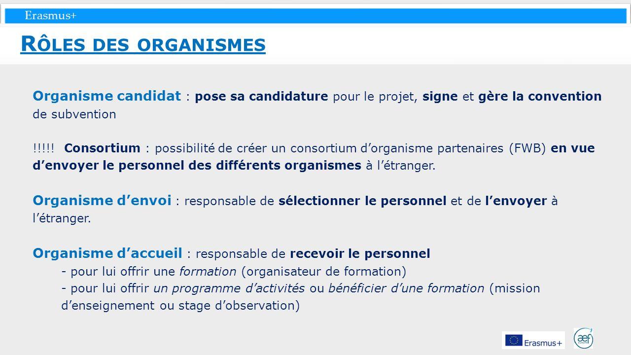 Erasmus+ Organisme candidat : pose sa candidature pour le projet, signe et gère la convention de subvention !!!!! Consortium : possibilité de créer un