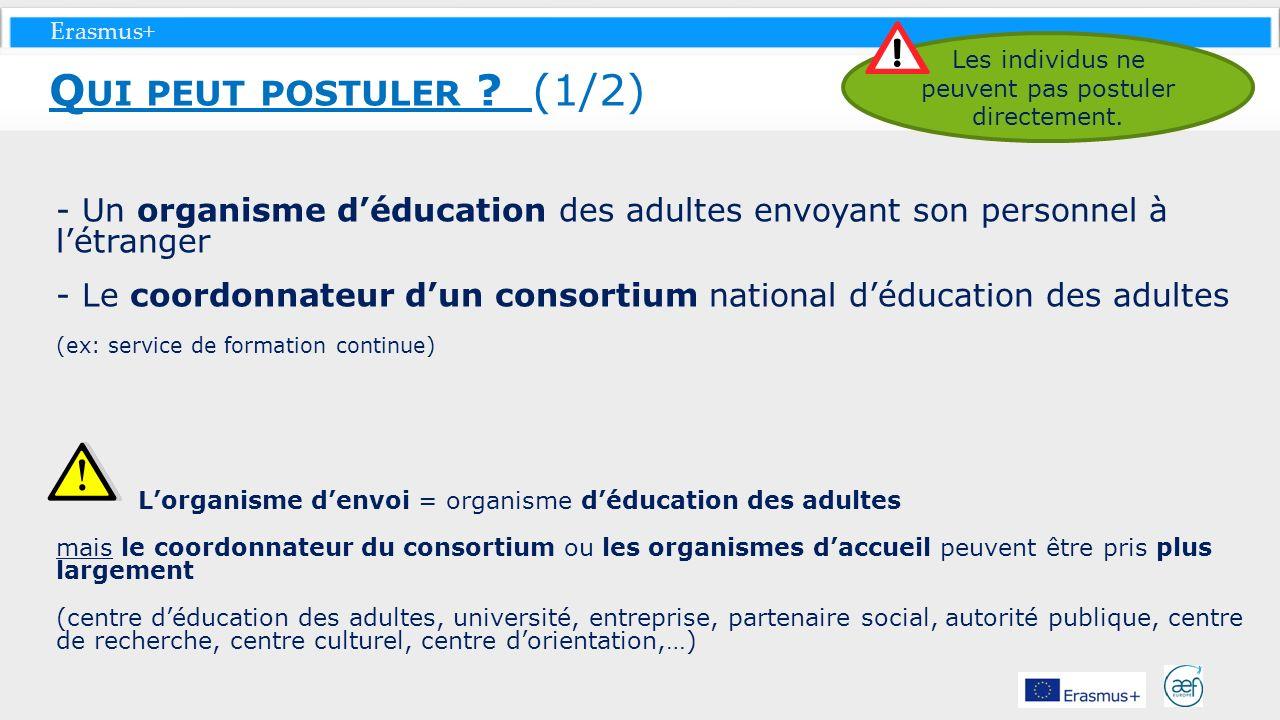 Erasmus+ - Un organisme déducation des adultes envoyant son personnel à létranger - Le coordonnateur dun consortium national déducation des adultes (e