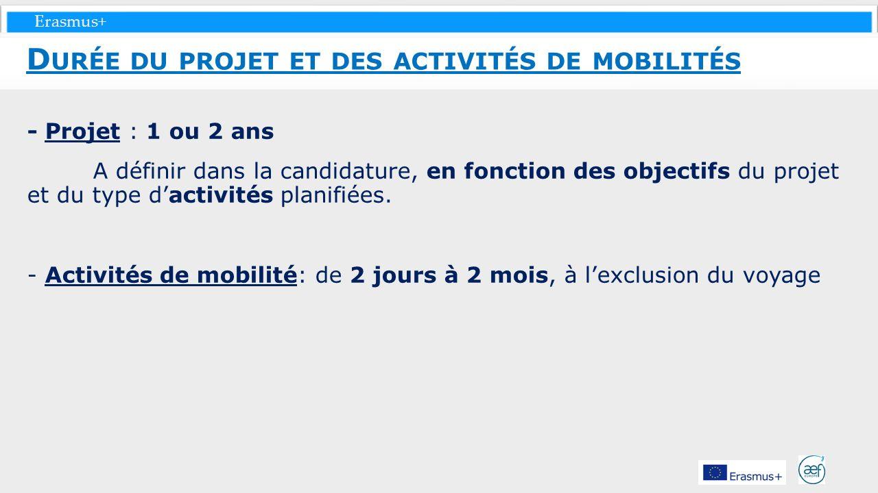 Erasmus+ - Projet : 1 ou 2 ans A définir dans la candidature, en fonction des objectifs du projet et du type dactivités planifiées. - Activités de mob