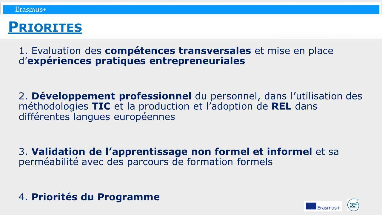 Erasmus+ 1. Evaluation des compétences transversales et mise en place dexpériences pratiques entrepreneuriales 2. Développement professionnel du perso