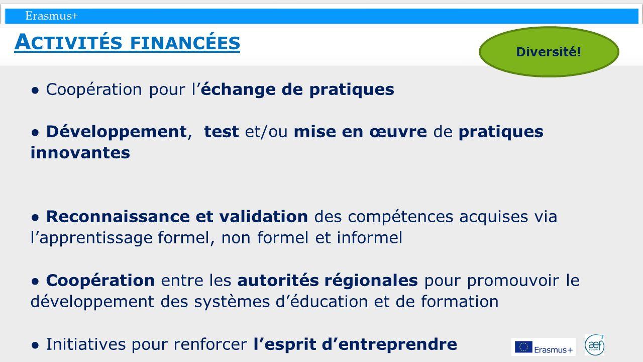 Erasmus+ Coopération pour léchange de pratiques Développement, test et/ou mise en œuvre de pratiques innovantes Reconnaissance et validation des compé