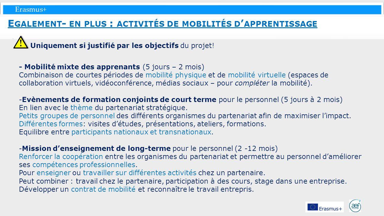 Erasmus+ Uniquement si justifié par les objectifs du projet! - Mobilité mixte des apprenants (5 jours – 2 mois) Combinaison de courtes périodes de mob