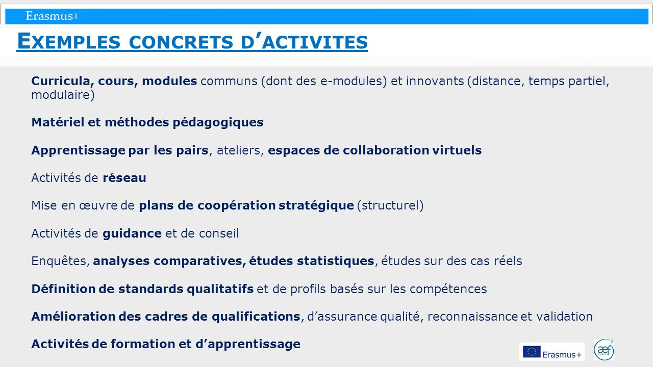 Erasmus+ Curricula, cours, modules communs (dont des e-modules) et innovants (distance, temps partiel, modulaire) Matériel et méthodes pédagogiques Ap