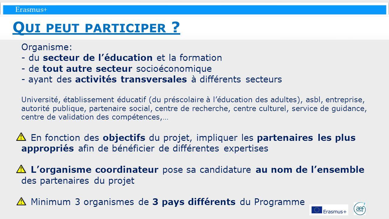 Erasmus+ Organisme: - du secteur de léducation et la formation - de tout autre secteur socioéconomique - ayant des activités transversales à différent