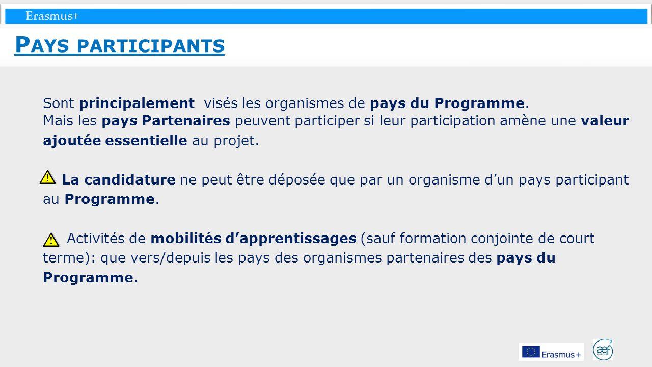 Erasmus+ Sont principalement visés les organismes de pays du Programme. Mais les pays Partenaires peuvent participer si leur participation amène une v