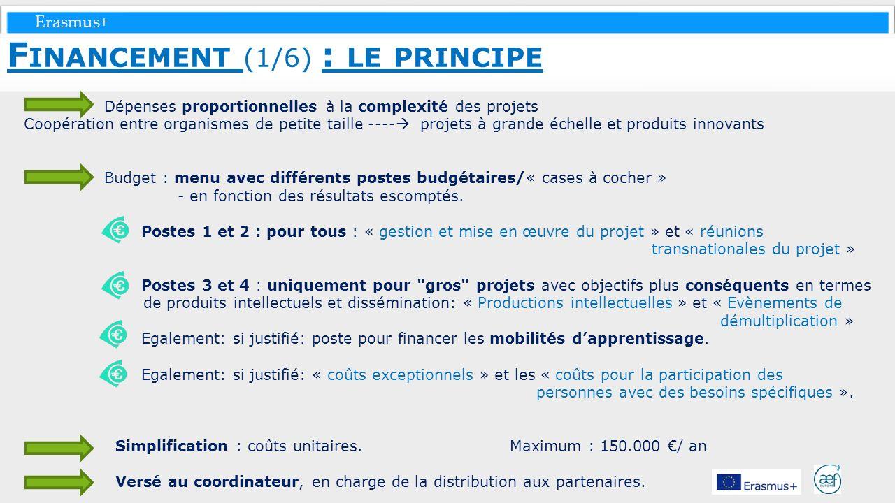 Erasmus+ Dépenses proportionnelles à la complexité des projets Coopération entre organismes de petite taille ---- projets à grande échelle et produits