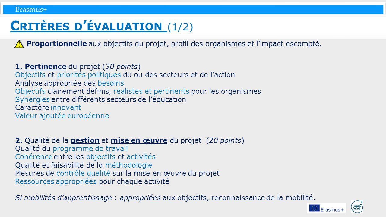 Erasmus+ Proportionnelle aux objectifs du projet, profil des organismes et limpact escompté. 1. Pertinence du projet (30 points) Objectifs et priorité