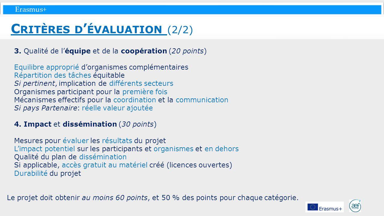 Erasmus+ 3. Qualité de léquipe et de la coopération (20 points) Equilibre approprié dorganismes complémentaires Répartition des tâches équitable Si pe