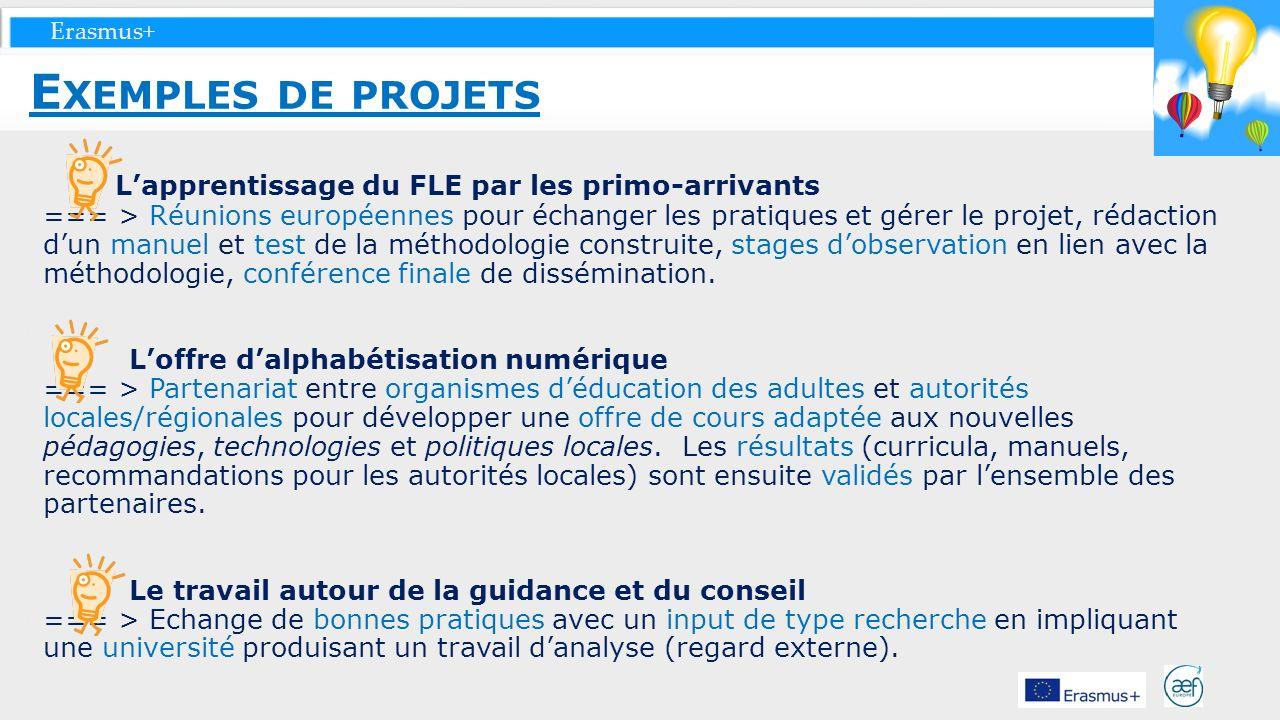 Erasmus+ Lapprentissage du FLE par les primo-arrivants === > Réunions européennes pour échanger les pratiques et gérer le projet, rédaction dun manuel