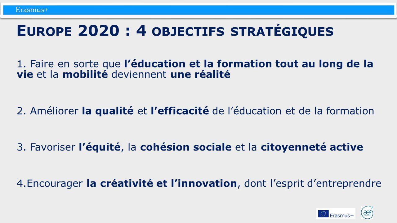 Erasmus+ 1. Faire en sorte que léducation et la formation tout au long de la vie et la mobilité deviennent une réalité 2. Améliorer la qualité et leff