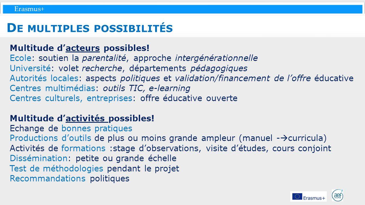 Erasmus+ Multitude dacteurs possibles! Ecole: soutien la parentalité, approche intergénérationnelle Université: volet recherche, départements pédagogi