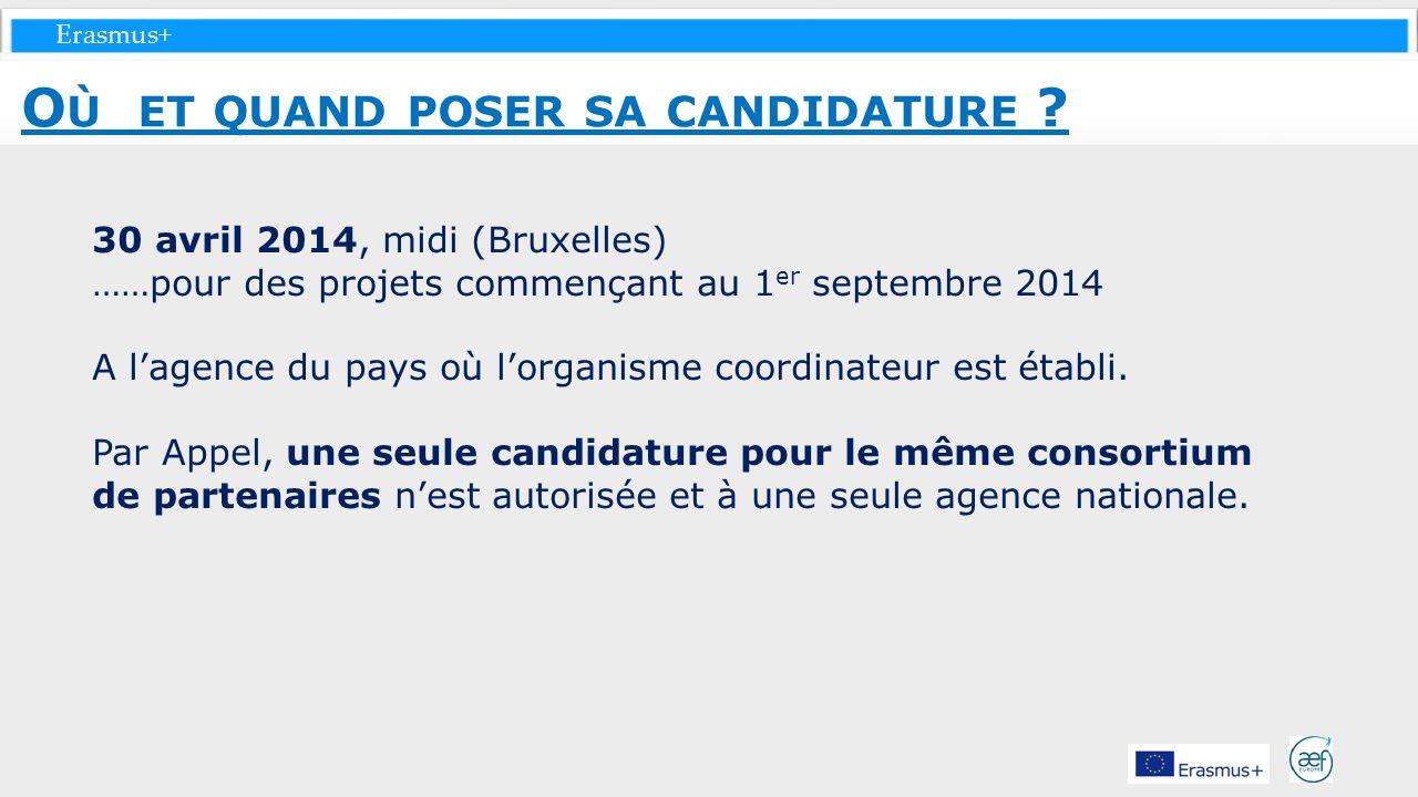 Erasmus+ 30 avril 2014, midi (Bruxelles) ……pour des projets commençant au 1 er septembre 2014 A lagence du pays où lorganisme coordinateur est établi.
