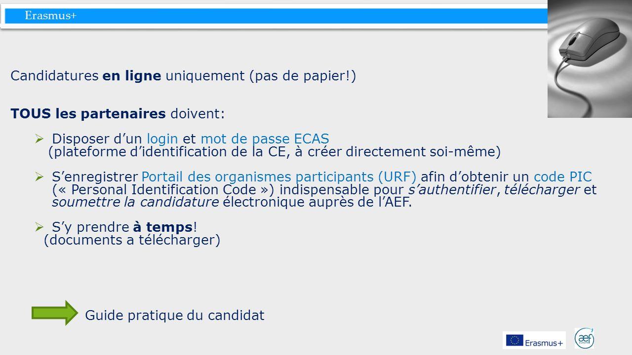 Erasmus+ Candidatures en ligne uniquement (pas de papier!) TOUS les partenaires doivent: Disposer dun login et mot de passe ECAS (plateforme didentifi