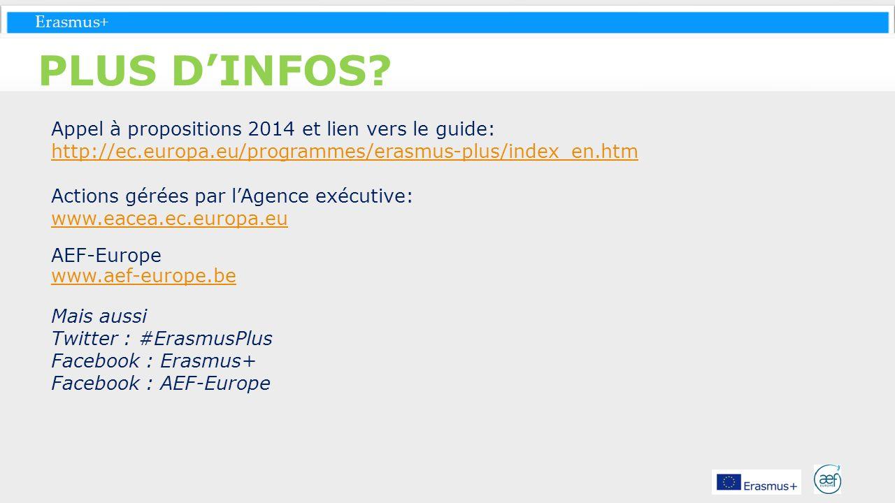 Erasmus+ PLUS DINFOS? Appel à propositions 2014 et lien vers le guide: http://ec.europa.eu/programmes/erasmus-plus/index_en.htm Actions gérées par lAg