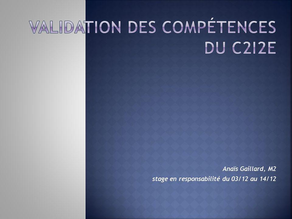 Anaïs Gaillard, M2 stage en responsabilité du 03/12 au 14/12