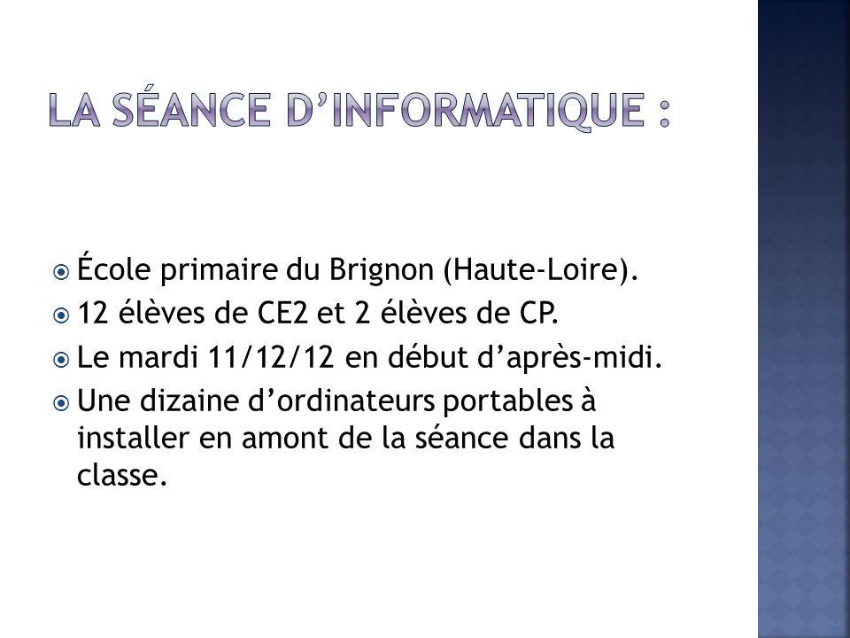 École primaire du Brignon (Haute-Loire). 12 élèves de CE2 et 2 élèves de CP. Le mardi 11/12/12 en début daprès-midi. Une dizaine dordinateurs portable