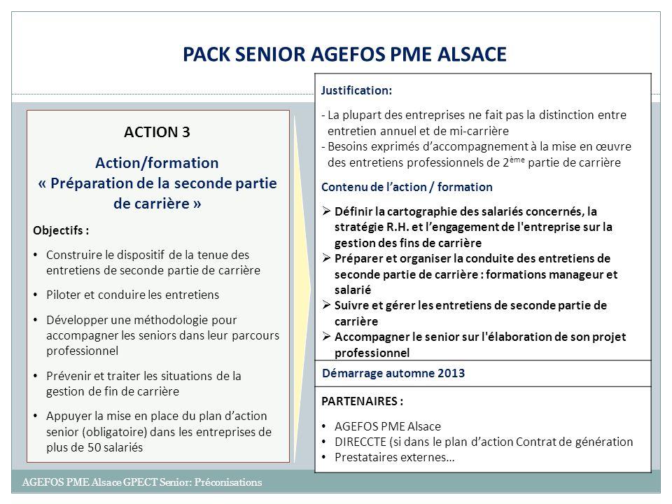 19 AGEFOS PME Alsace GPECT Senior: Préconisations ACTION 3 Action/formation « Préparation de la seconde partie de carrière » Objectifs : Construire le
