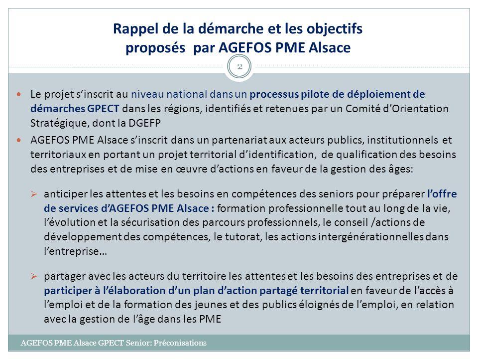 AGEFOS PME Alsace GPECT Senior: Préconisations 13 Laccompagnement des entreprises par les services Emploi / formation 95 % entreprises souhaitent obtenir des informations sur le Contrat de génération et sur les modalités de mise en œuvre