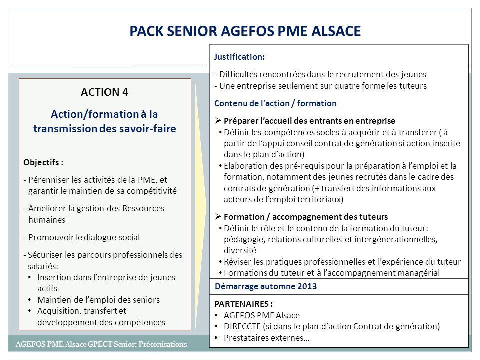 20 AGEFOS PME Alsace GPECT Senior: Préconisations ACTION 4 Action/formation à la transmission des savoir-faire Objectifs : -Pérenniser les activités d