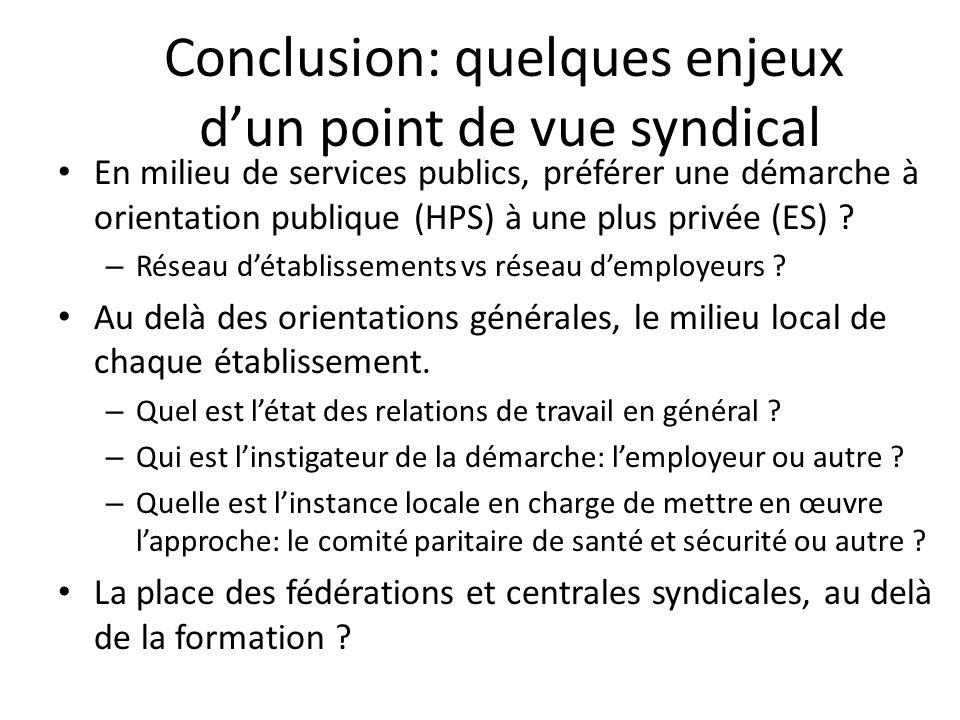 Conclusion: quelques enjeux dun point de vue syndical En milieu de services publics, préférer une démarche à orientation publique (HPS) à une plus pri