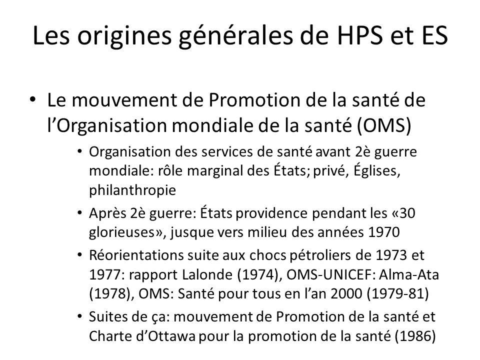 Les origines générales de HPS et ES Le mouvement de Promotion de la santé de lOrganisation mondiale de la santé (OMS) Organisation des services de san