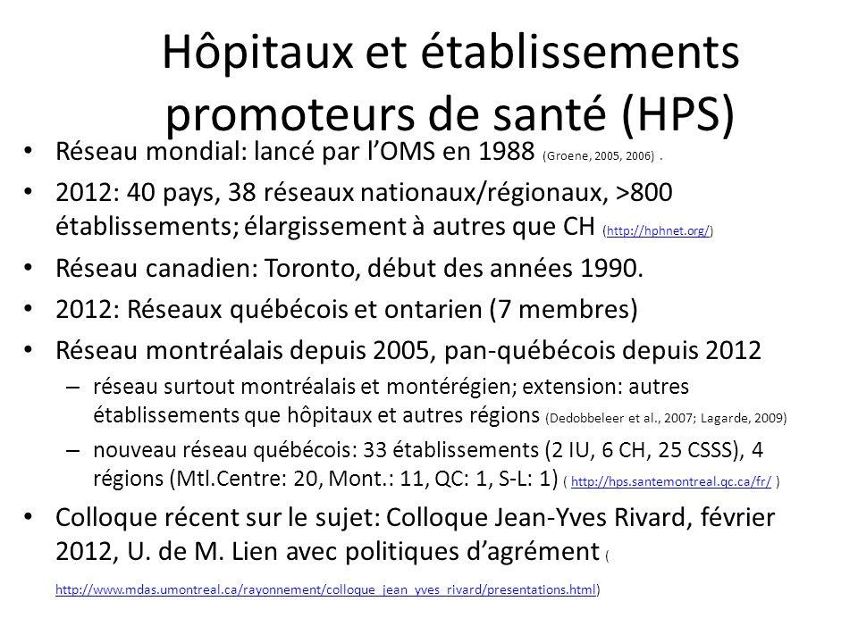 Hôpitaux et établissements promoteurs de santé (HPS) Réseau mondial: lancé par lOMS en 1988 (Groene, 2005, 2006). 2012: 40 pays, 38 réseaux nationaux/