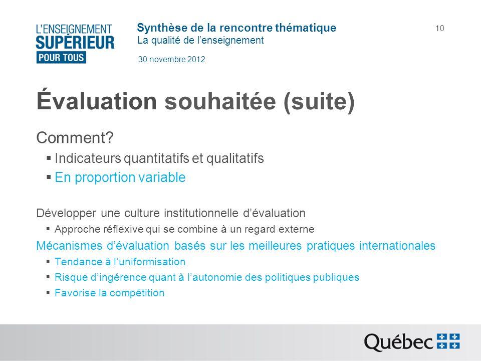 Synthèse de la rencontre thématique La qualité de lenseignement 30 novembre 2012 10 Évaluation souhaitée (suite) Comment? Indicateurs quantitatifs et