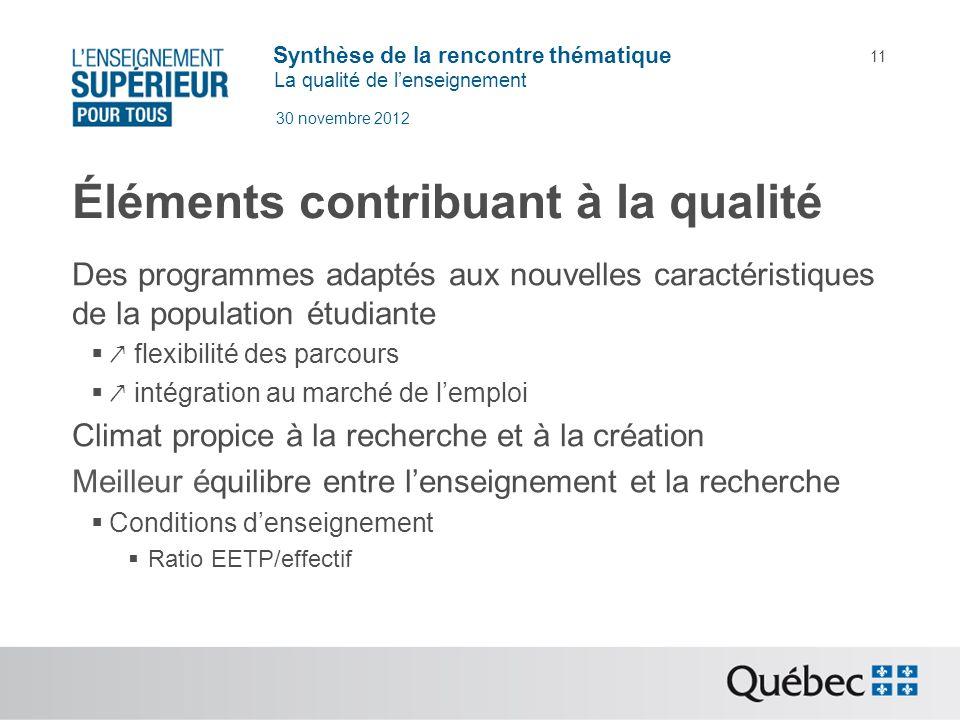 Synthèse de la rencontre thématique La qualité de lenseignement 30 novembre 2012 11 Éléments contribuant à la qualité Des programmes adaptés aux nouve