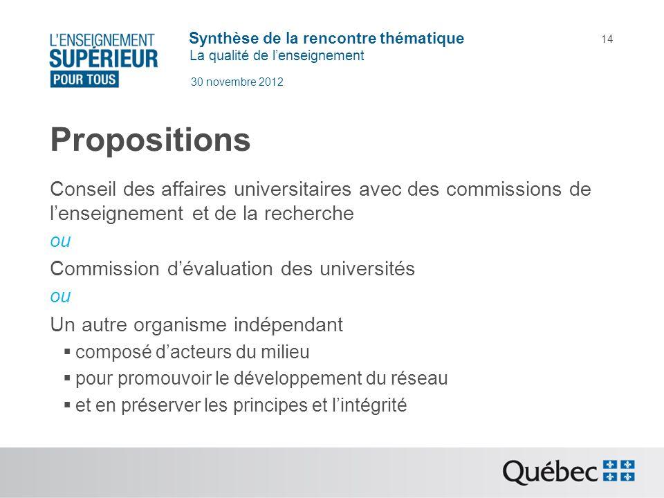 Synthèse de la rencontre thématique La qualité de lenseignement 30 novembre 2012 14 Propositions Conseil des affaires universitaires avec des commissi