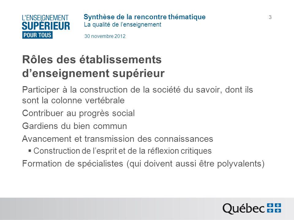 Synthèse de la rencontre thématique La qualité de lenseignement 30 novembre 2012 3 Rôles des établissements denseignement supérieur Participer à la co