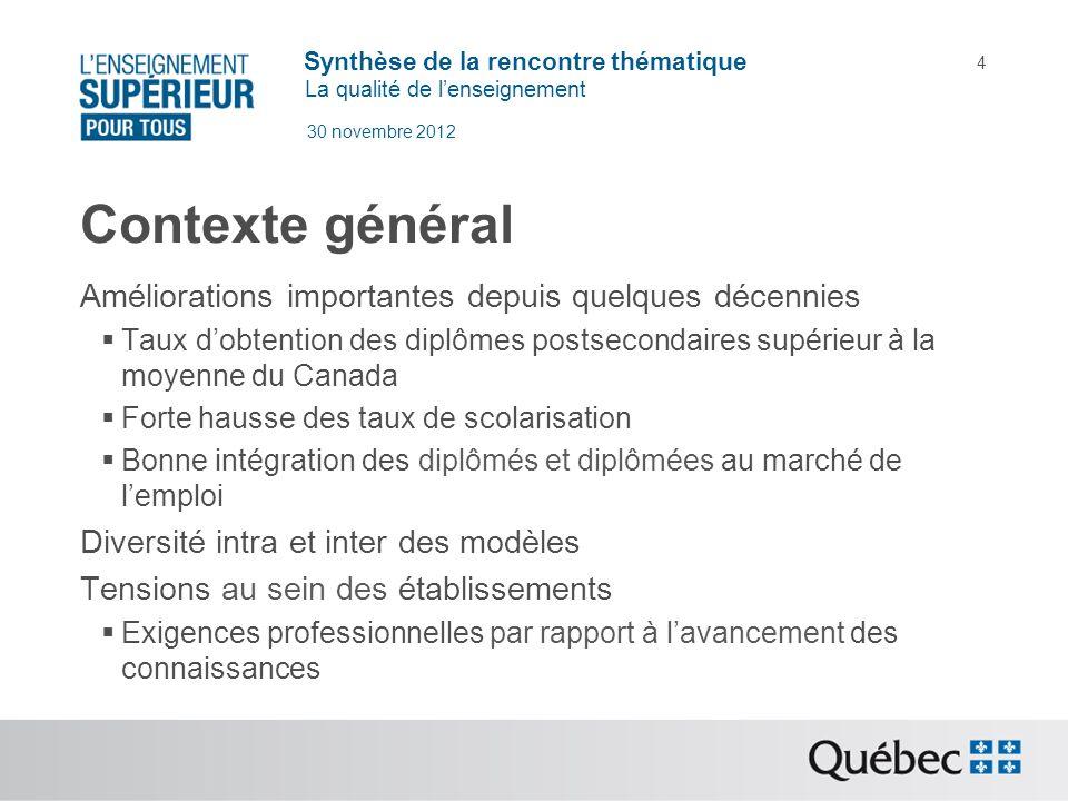 Synthèse de la rencontre thématique La qualité de lenseignement 30 novembre 2012 4 Contexte général Améliorations importantes depuis quelques décennie