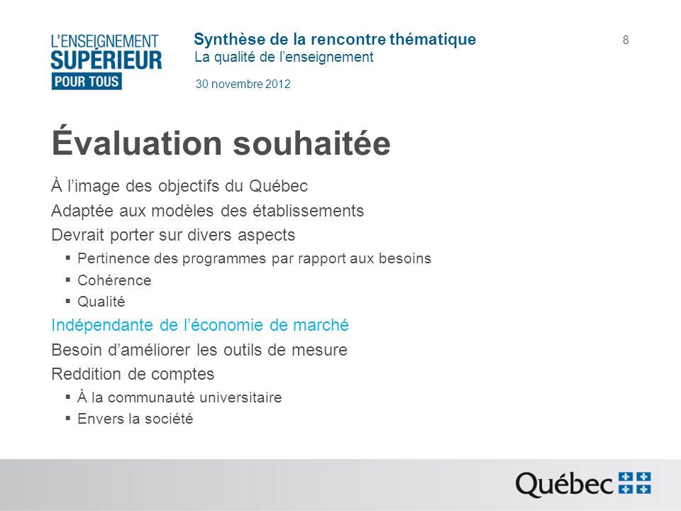 Synthèse de la rencontre thématique La qualité de lenseignement 30 novembre 2012 8 Évaluation souhaitée À limage des objectifs du Québec Adaptée aux m