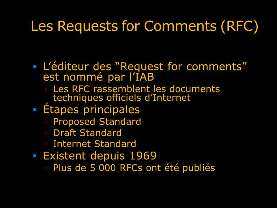 Les Requests for Comments (RFC) Léditeur des Request for comments est nommé par lIAB Les RFC rassemblent les documents techniques officiels dInternet