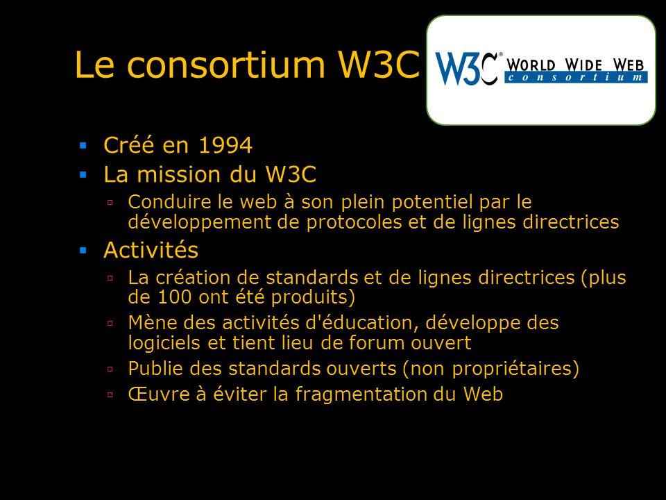 Le consortium W3C Créé en 1994 La mission du W3C Conduire le web à son plein potentiel par le développement de protocoles et de lignes directrices Act