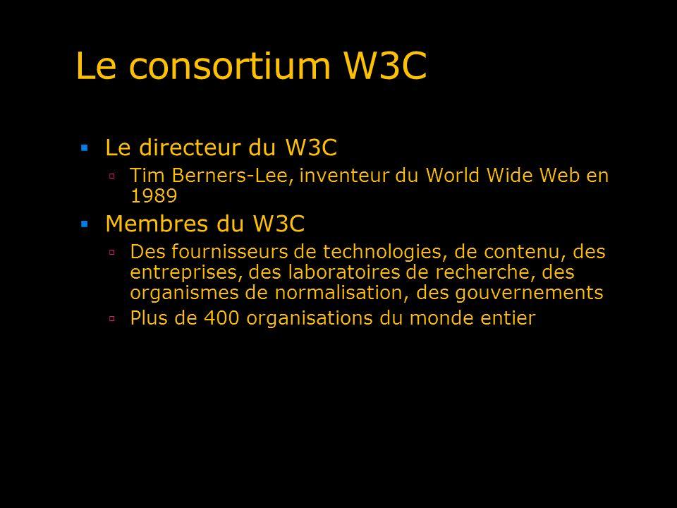 Le consortium W3C Le directeur du W3C Tim Berners-Lee, inventeur du World Wide Web en 1989 Membres du W3C Des fournisseurs de technologies, de contenu