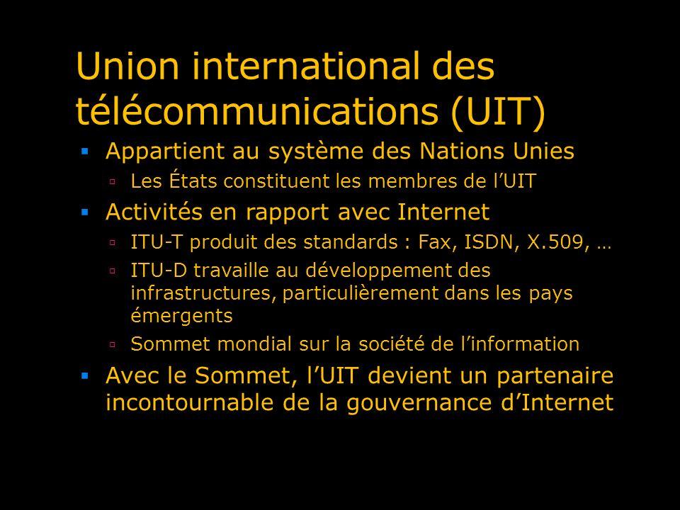 Union international des télécommunications (UIT) Appartient au système des Nations Unies Les États constituent les membres de lUIT Activités en rappor