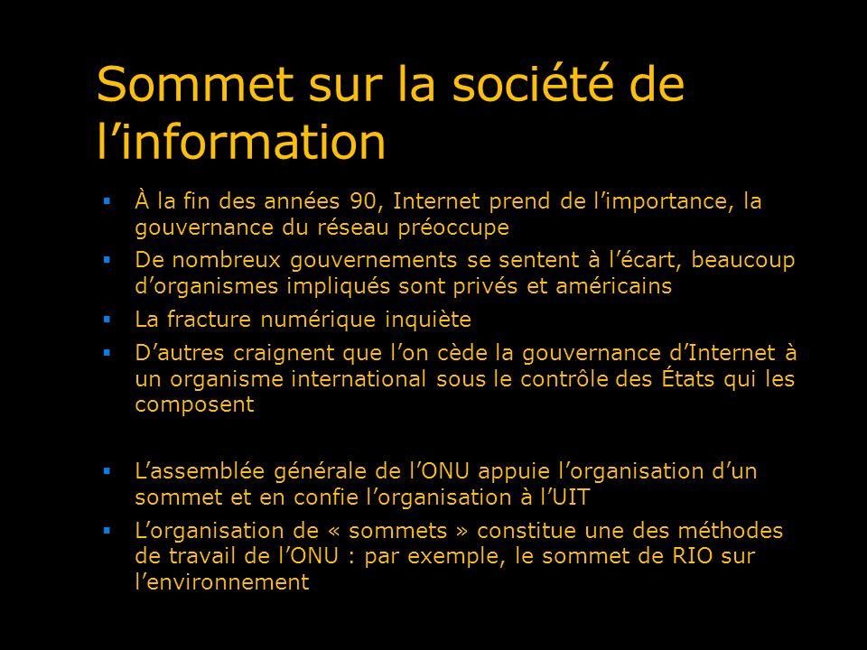 Sommet sur la société de linformation À la fin des années 90, Internet prend de limportance, la gouvernance du réseau préoccupe De nombreux gouverneme