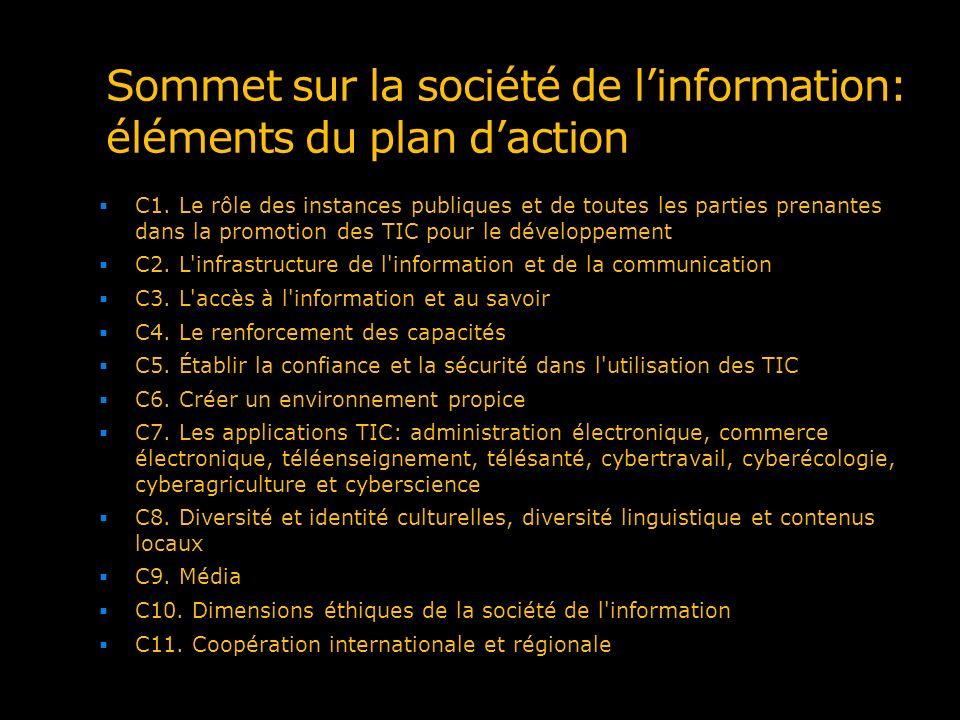 Sommet sur la société de linformation: éléments du plan daction C1. Le rôle des instances publiques et de toutes les parties prenantes dans la promoti