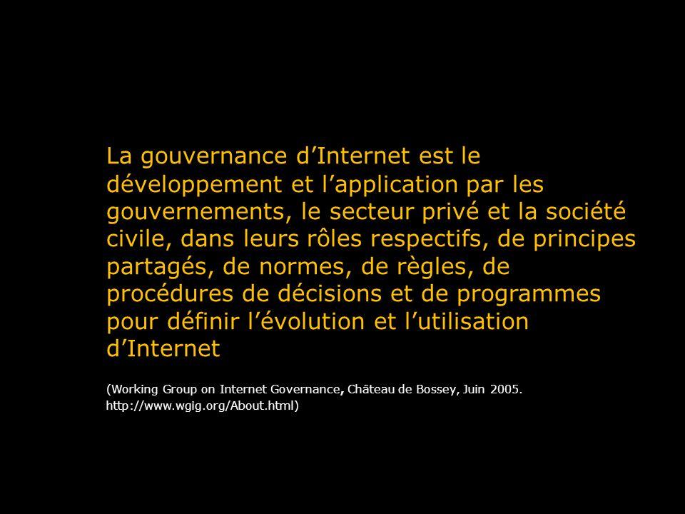 La gouvernance dInternet est le développement et lapplication par les gouvernements, le secteur privé et la société civile, dans leurs rôles respectif