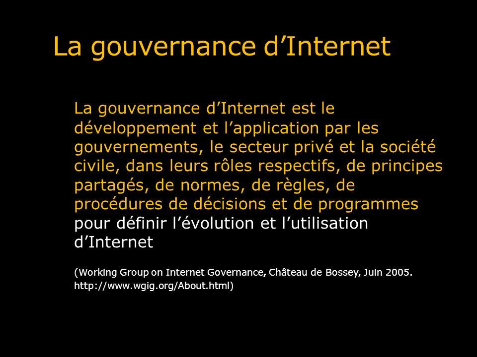 La gouvernance dInternet La gouvernance dInternet est le développement et lapplication par les gouvernements, le secteur privé et la société civile, d