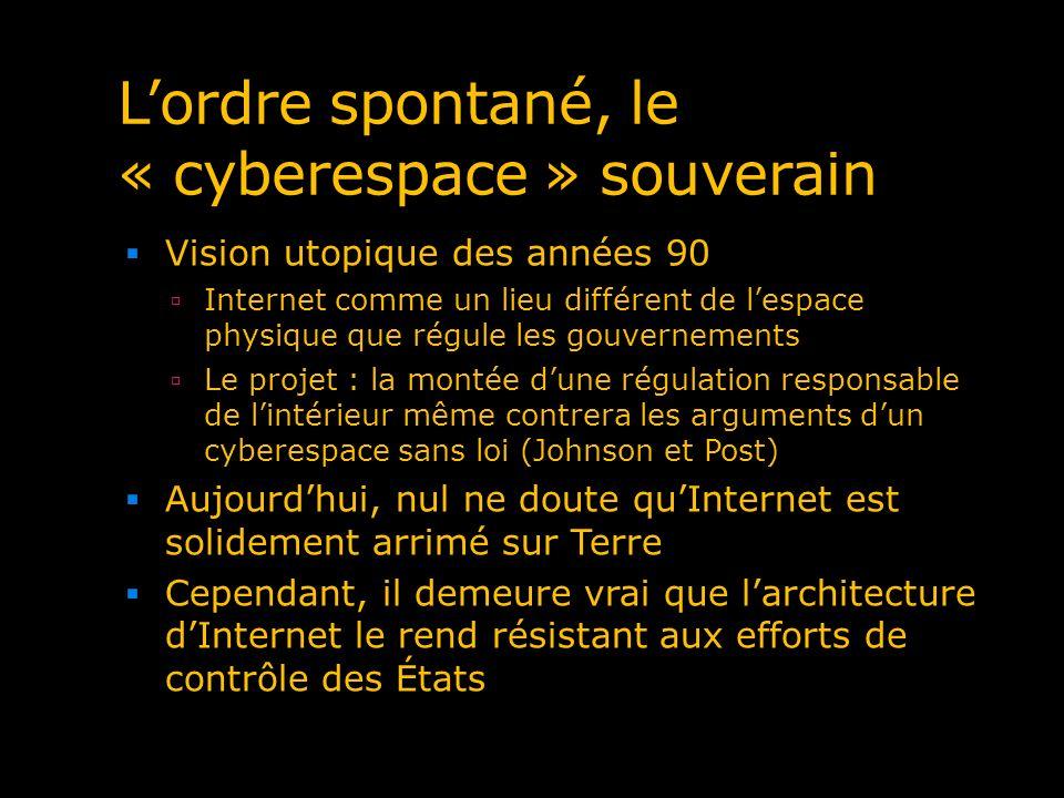 Lordre spontané, le « cyberespace » souverain Vision utopique des années 90 Internet comme un lieu différent de lespace physique que régule les gouver