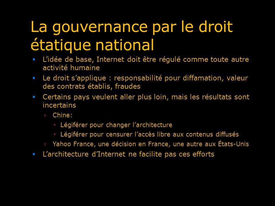 La gouvernance par le droit étatique national Lidée de base, Internet doit être régulé comme toute autre activité humaine Le droit sapplique : respons