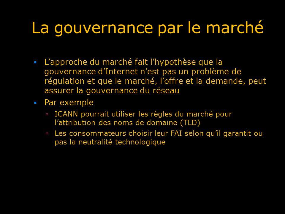 La gouvernance par le marché Lapproche du marché fait lhypothèse que la gouvernance dInternet nest pas un problème de régulation et que le marché, lof