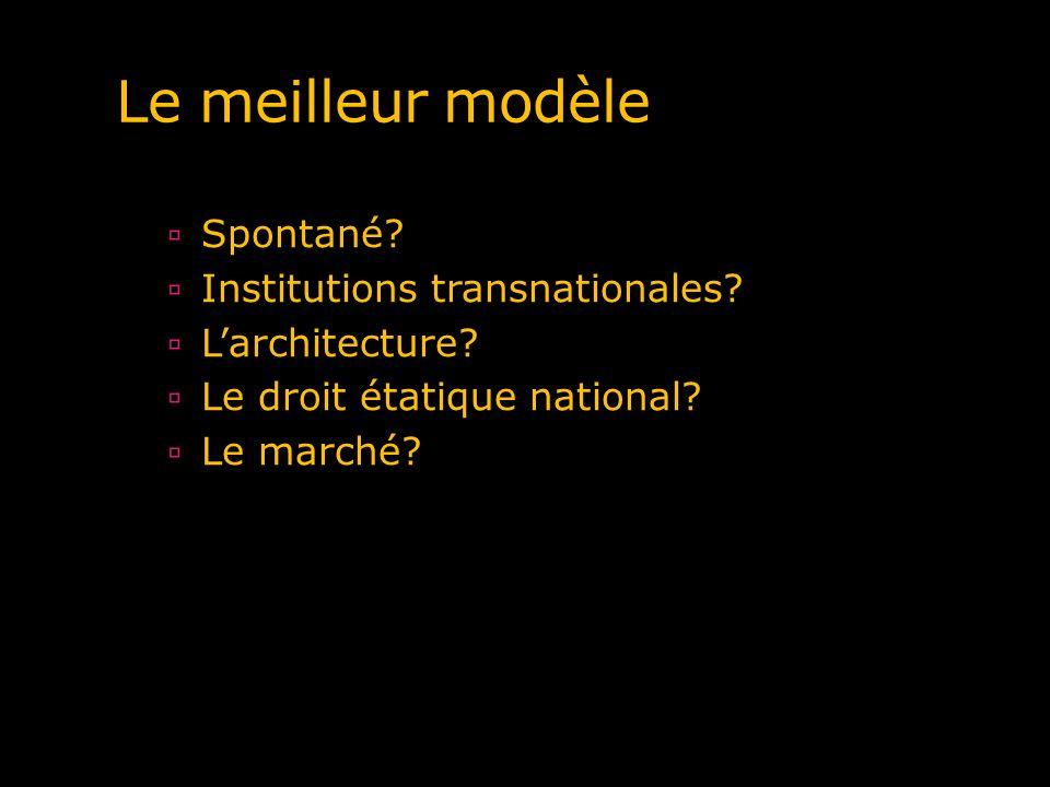 Le meilleur modèle Spontané? Institutions transnationales? Larchitecture? Le droit étatique national? Le marché?