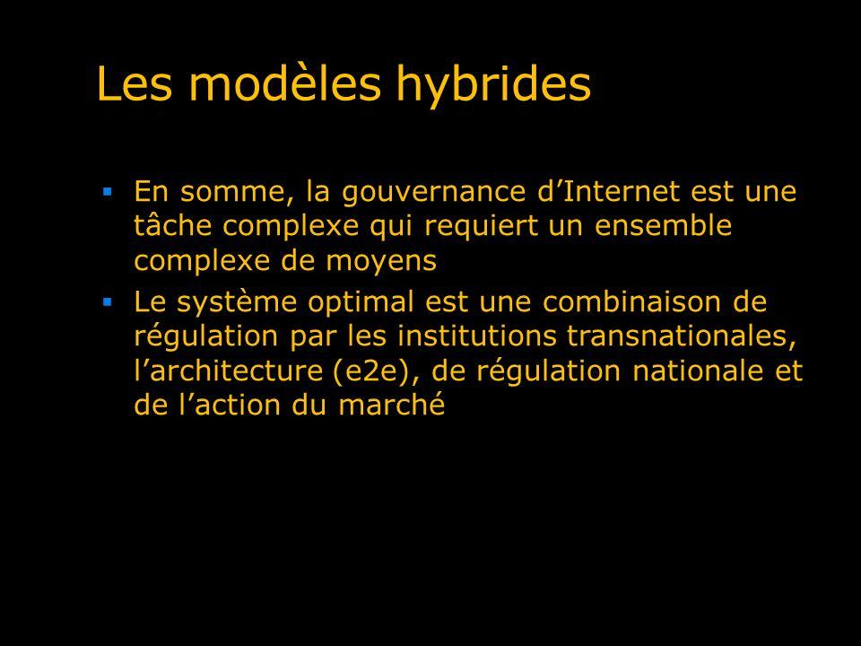 Les modèles hybrides En somme, la gouvernance dInternet est une tâche complexe qui requiert un ensemble complexe de moyens Le système optimal est une