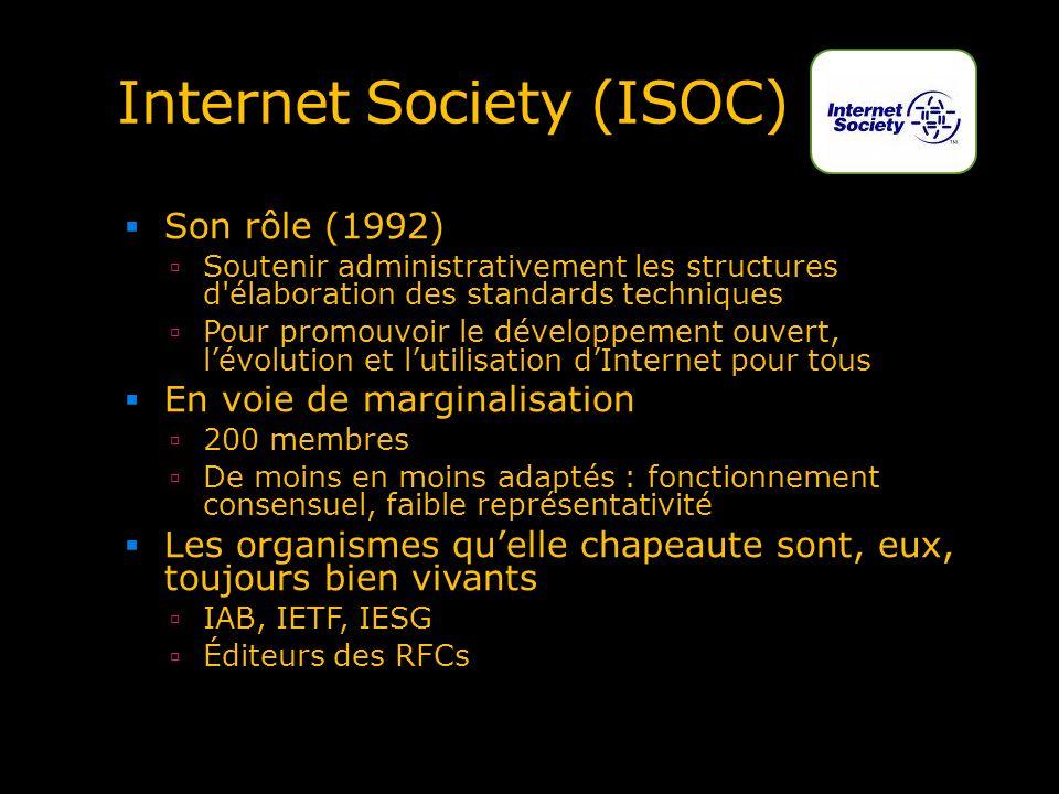 Internet Society (ISOC) Son rôle (1992) Soutenir administrativement les structures d'élaboration des standards techniques Pour promouvoir le développe
