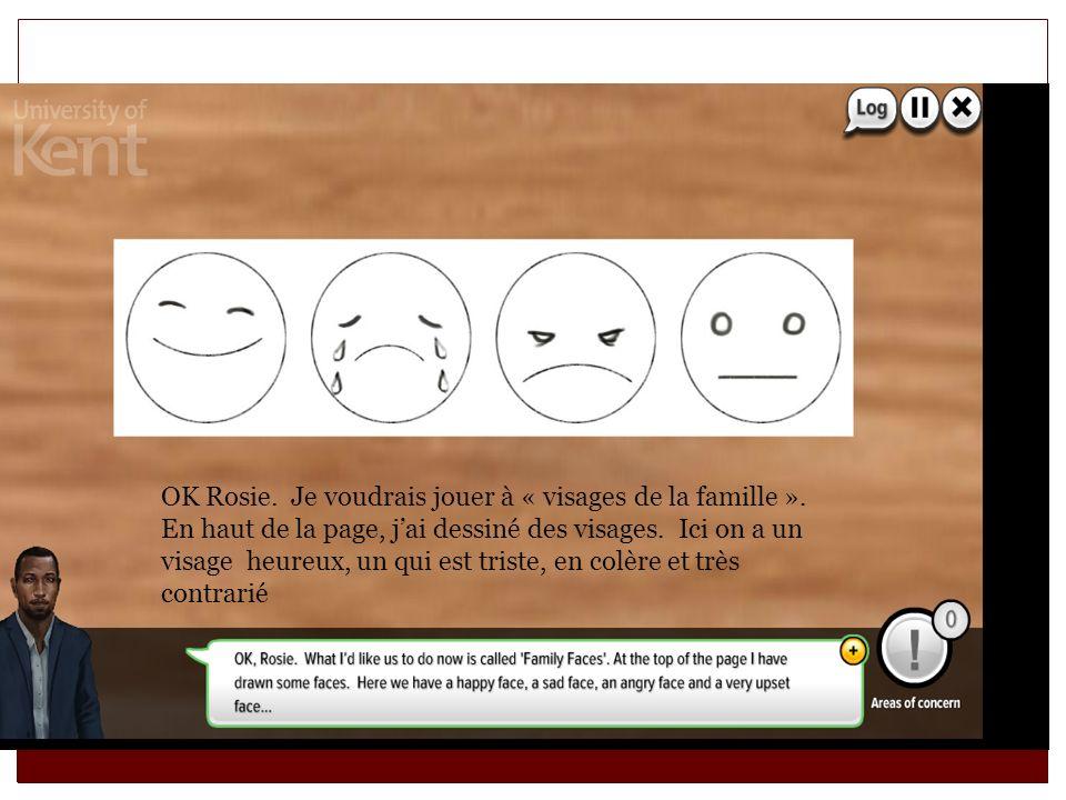 OK Rosie. Je voudrais jouer à « visages de la famille ». En haut de la page, jai dessiné des visages. Ici on a un visage heureux, un qui est triste, e