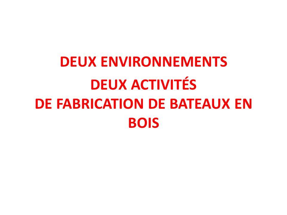 DEUX ENVIRONNEMENTS DEUX ACTIVITÉS DE FABRICATION DE BATEAUX EN BOIS