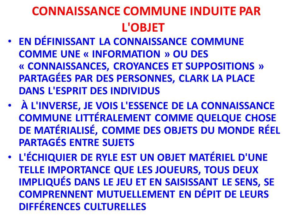 EN DÉFINISSANT LA CONNAISSANCE COMMUNE COMME UNE « INFORMATION » OU DES « CONNAISSANCES, CROYANCES ET SUPPOSITIONS » PARTAGÉES PAR DES PERSONNES, CLAR